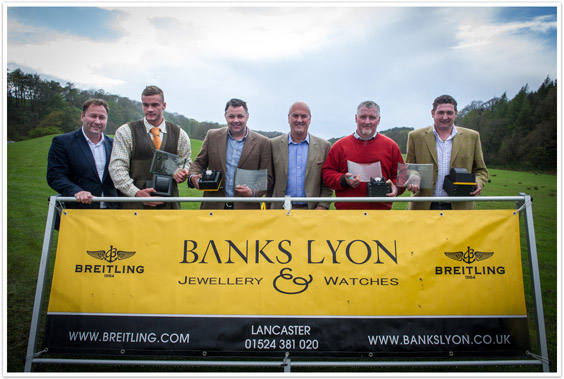 Rodney Banks Lyon with the winners of the clay pigeon shoot.