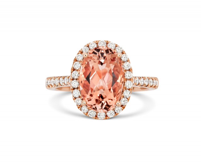 featured image - 18ct Rose Gold 3.48ct Morganite and Diamond Ring