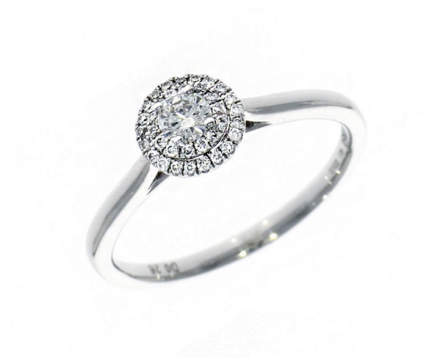 featured - Platinum 0.15ct Brilliant Cut Diamond Double Halo Ring