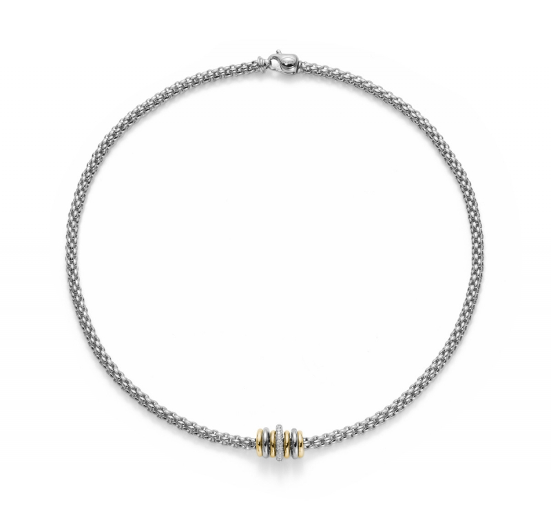 Fope Flex'It Solo Necklace - Gold and Diamond