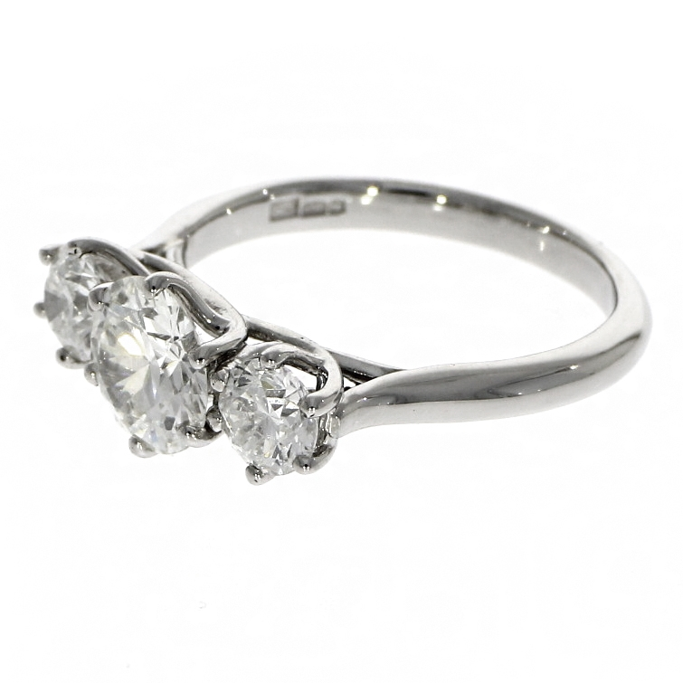 Pre Owned: Platinum 1.99ct Brilliant Cut Diamond Triology 'Wyre' Ring