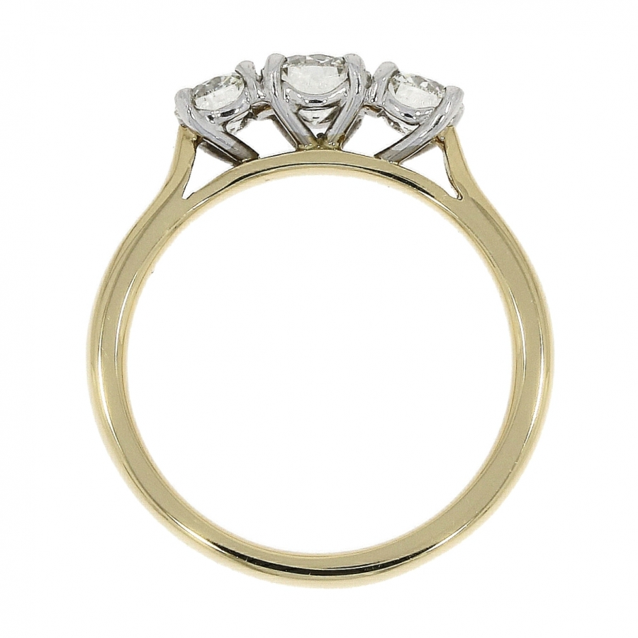18ct Yellow Gold 0.43ct Brilliant Cut Diamond Three Stone Triology Classic Ring