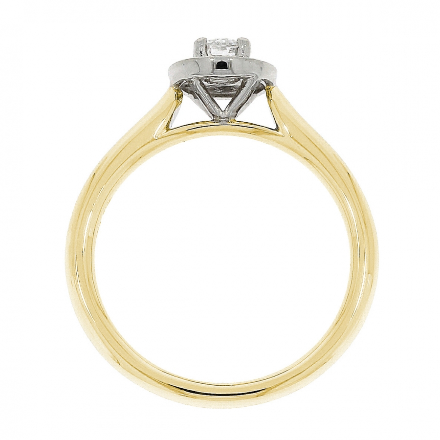 18ct Yellow Gold 0.48ct Brilliant Cut Diamond Halo Ring