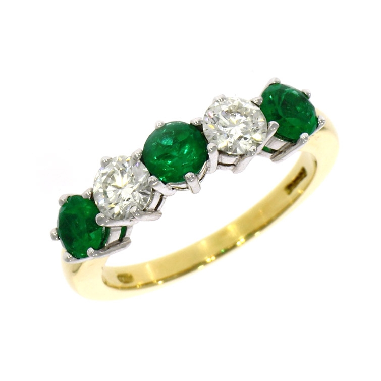 18ct yellow gold emerald and eternity ring 01 27 031