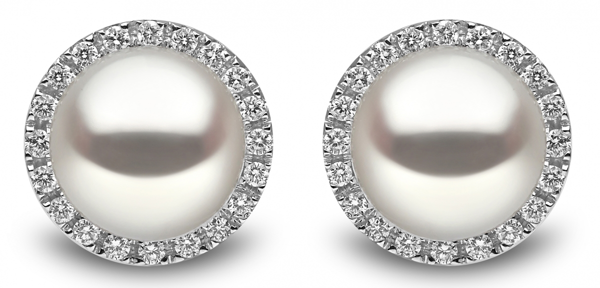 f29e45459 18ct White Gold 0.45ct Diamond and Pearl Stud Cluster Earrings - 05 ...