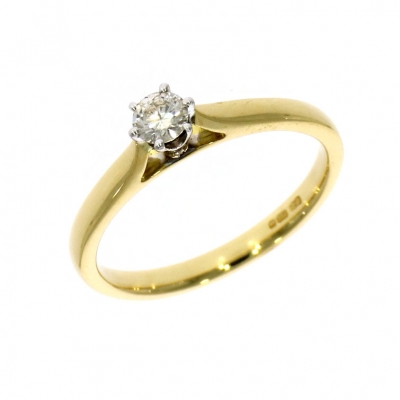 18ct Yellow and White Gold 0.19ct Brillilant Cut Diamond Solitaire Ring