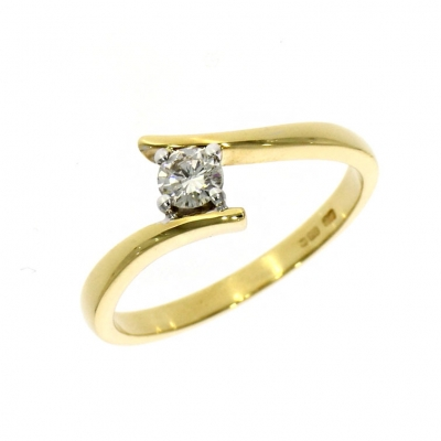 Pre Owned: 18ct Yellow and White Gold 0.20ct Brillaint Cut Diamond Ring