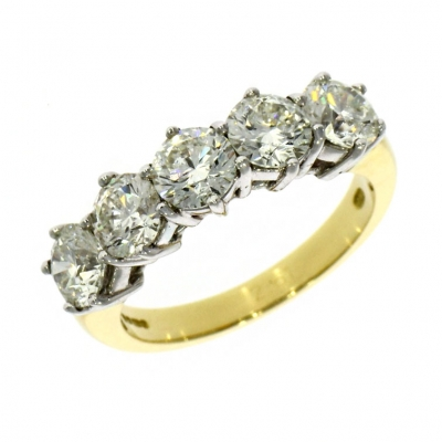 18ct Gold 2.61ct Five Stone Diamond Ring