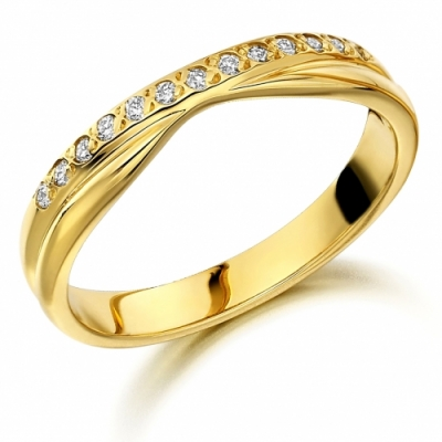 18ct Yellow Gold 0.10ct Diamond Shaped Wedding Ring