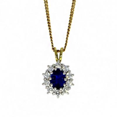 18ct White and Yellow Gold Sapphire and Diamond Pendant