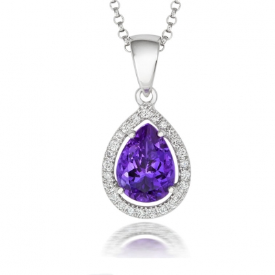 18ct White Gold Amethyst and Diamond Set Pendant