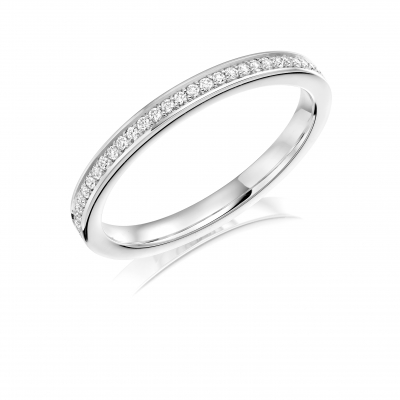 Platinum 0.12 Brilliant Cut Diamond Set Wedding Ring