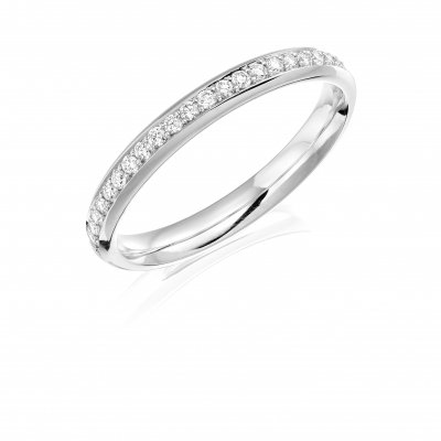 Platinum 0.32ct Brilliant cut Diamond Half Wedding Ring