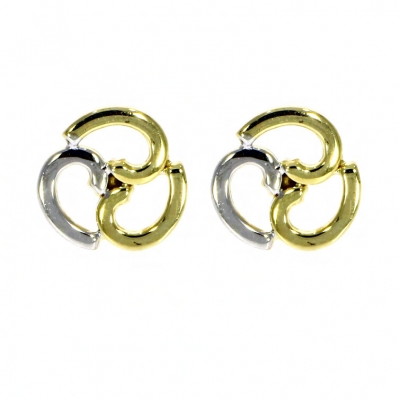 9ct Yellow and White Gold Flat Spiral Stud Earrings - 05 ...