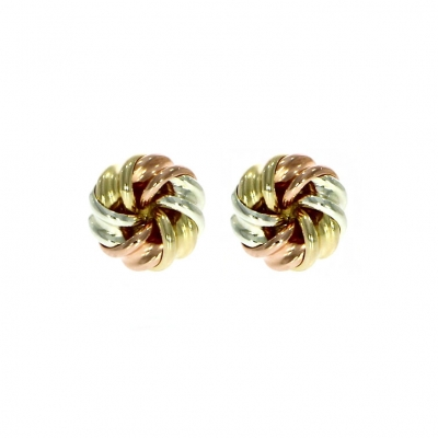 9ct White, Rose and Yellow Gold Rib Knot Stud Earrings