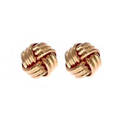 9ct Rose Gold Wool Knot Stud Earrings