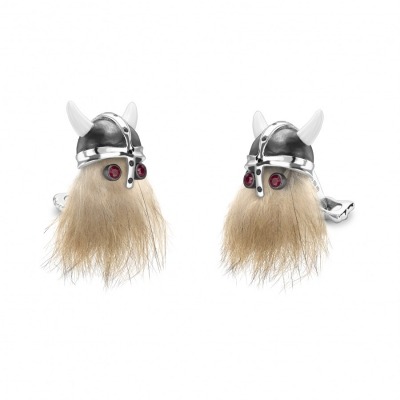 Deakin & Francis Viking Skull Cufflinks with Ruby Eyes