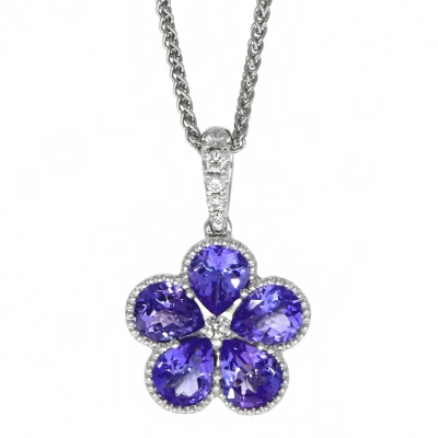 18ct White Gold Tanzanite and Diamond Flower Cluster Pendant