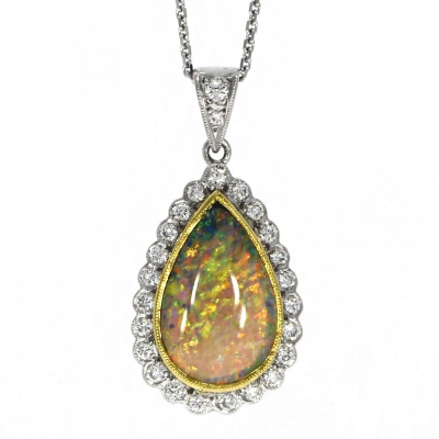 18ct White Gold Black Opal and Diamond Pendant