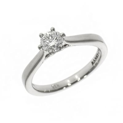 Platinum 0.51ct Round Brilliant Cut Diamond Tulip Solitaire Ring