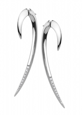 Shaun Leane Silver And Diamond Hook Earrings Size 2
