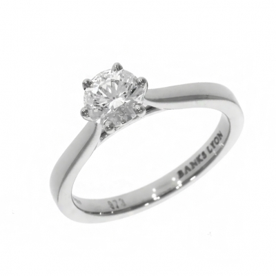 Platinum 0.71ct Brilliant cut Diamond Six Claw Solitaire Ring
