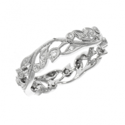 18ct White Gold Wavy Floral Dress Ring