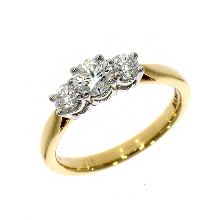 18ct Yellow Gold 0.47ct Brilliant Cut Diamond Three Stone Ring (0.79ct total)