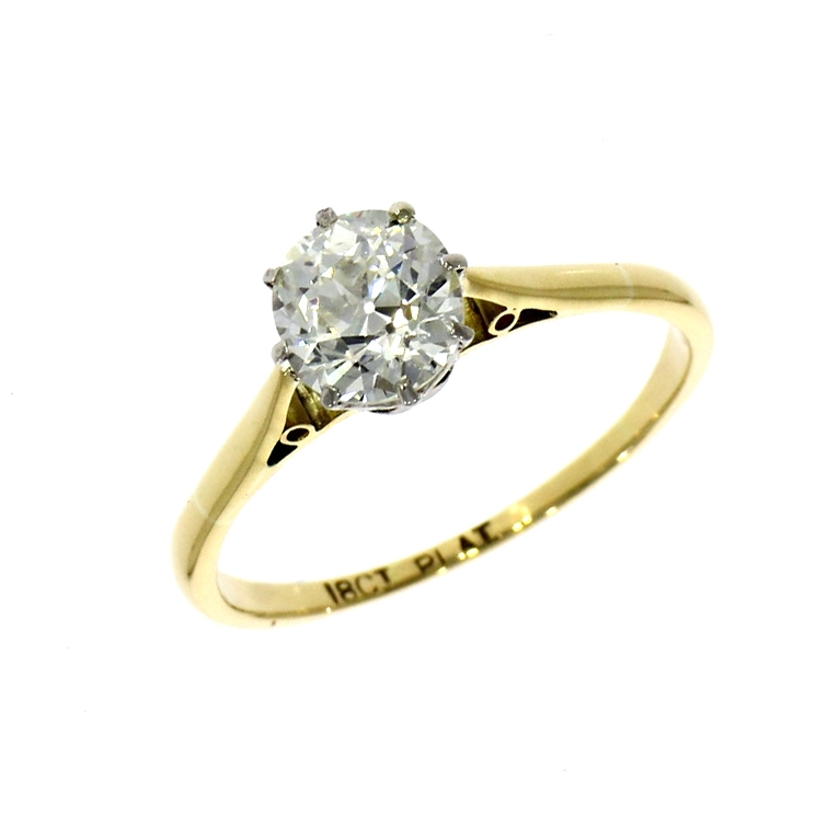 Pre Owned: 18ct Yellow Gold 1.02ct European Cut Diamond Solitaire Ring
