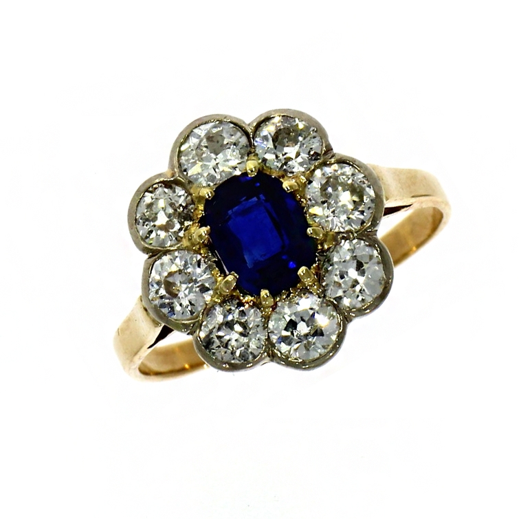 Pre Owned: 18ct Yellow Gold Sapphire and Diamond Cluster Ring