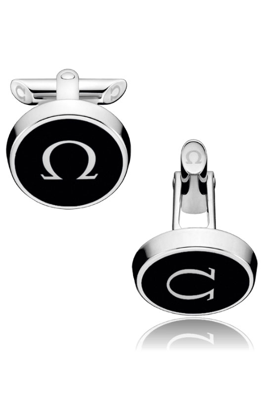 Omega Omegamania Stainless Steel & Black Lacquer Cufflinks