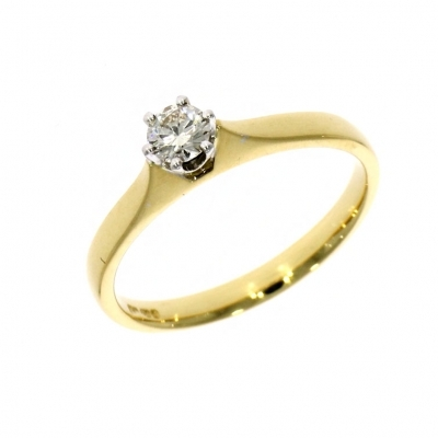 Pre Owned: 18ct Yellow Gold 0.18ct Brilliant Cut Diamond Solitaire Ring