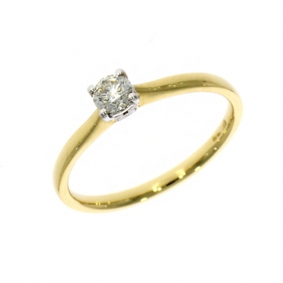 Pre Owned: 18ct Yellow Gold 0.20ct Brilliant Cut Diamond Solitaire Ring
