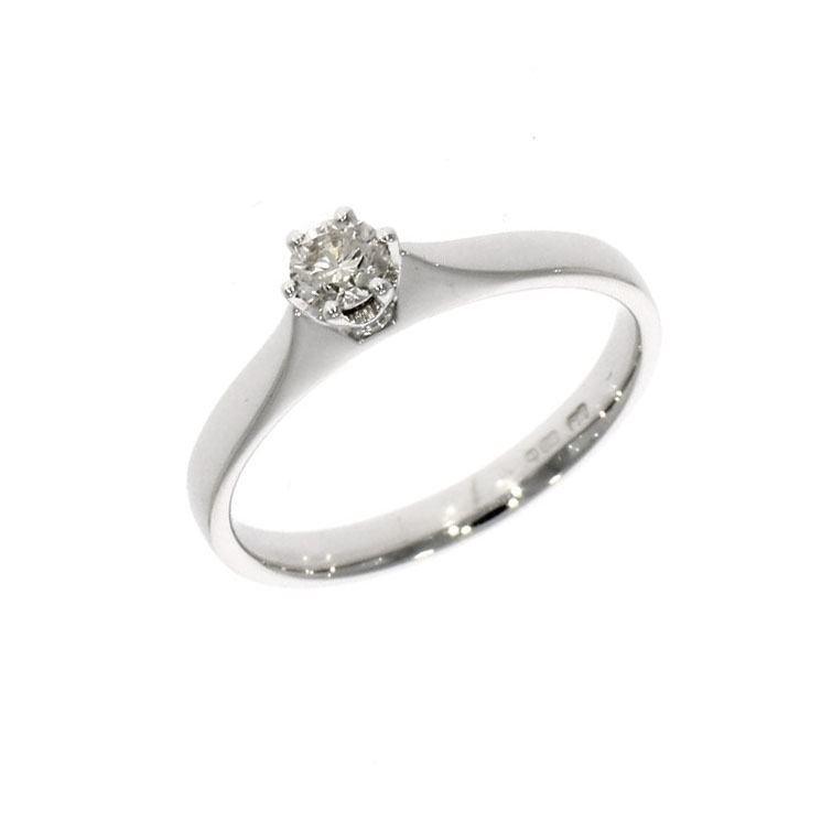 Pre Owned: 18ct White Gold 0.21ct Brilliant Cut Diamond Solitaire Ring