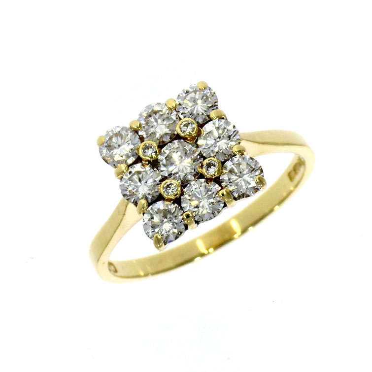 Pre Owned: 18ct Yellow Gold Diamond Square Shaped Cluster Ring