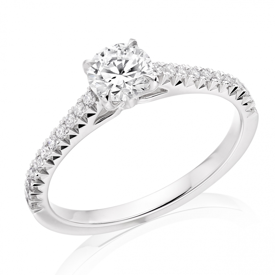 Platinum 0.70ct Brilliant Cut Diamond Solitaire Ring With French Cut Setting