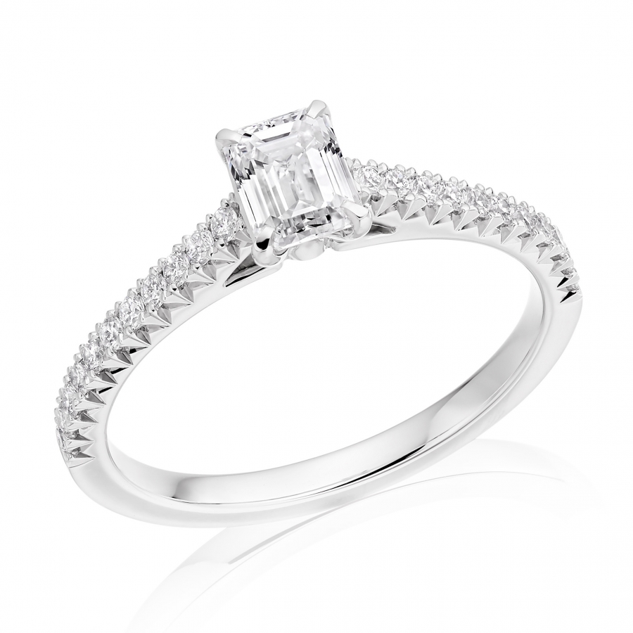 Platinum 0.50ct Emerald Cut Diamond Solitaire Ring With French Cut Setting