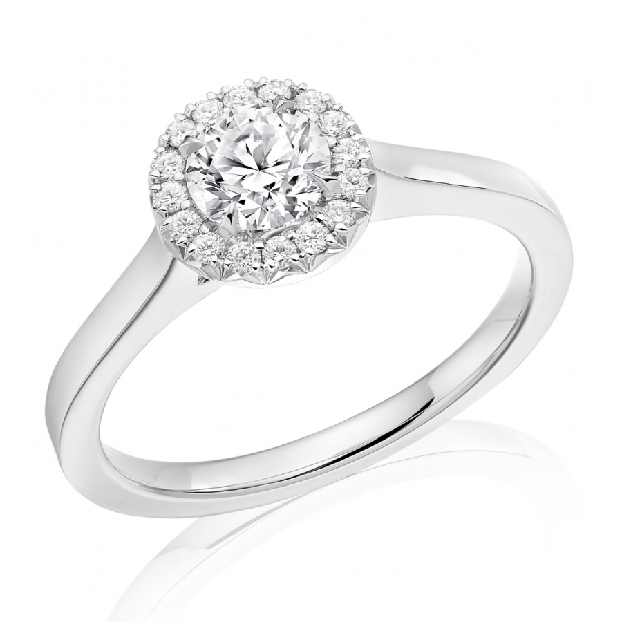 Platinum 0.50ct Brilliant Cut Diamond Halo Ring With French Cut Setting
