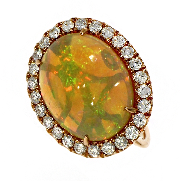 18ct Rose Gold 7.42ct Opal And Diamond Dress Ring