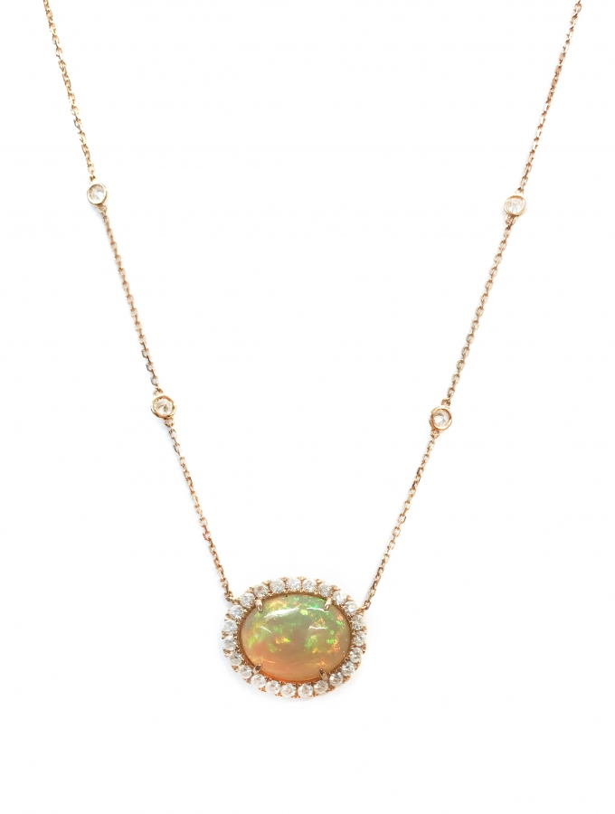 18ct Rose Gold 3.62ct Opal And Diamond Pendant