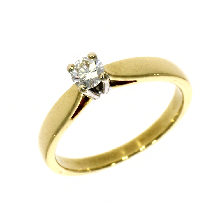 Pre Owned: 18ct Yellow Gold 0.25ct Brilliant Cut Diamond Solitaire Ring