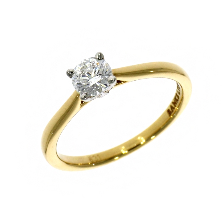 18ct Yellow Gold 0.43ct Brilliant Cut Diamond Solitaire Ring