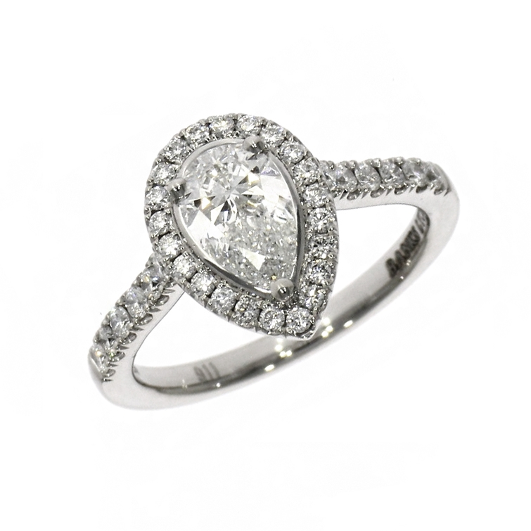 Platinum 0.82ct Pear Cut Diamond Skye Halo Ring