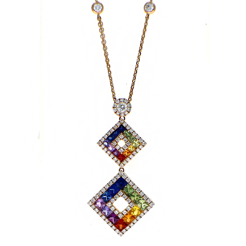 18ct Rose Gold 2.94ct Sapphire And Diamond Rainbow Drop Pendant