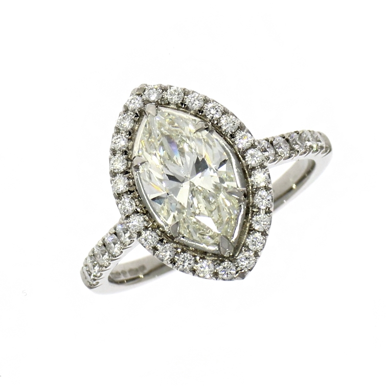Pre Owned: Pre Owned: Platinum 1.54ct Marquise Cut Diamond Halo Ring