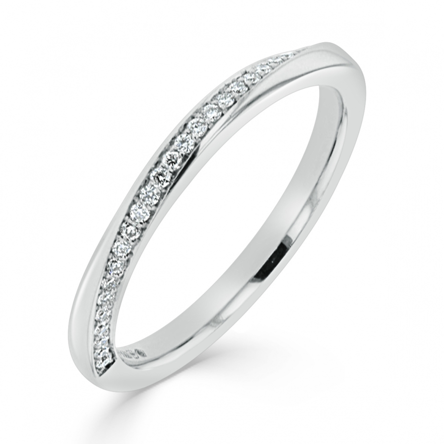 Charles Green Platinum 0.13ct Diamond Set Twisted Wedding Ring