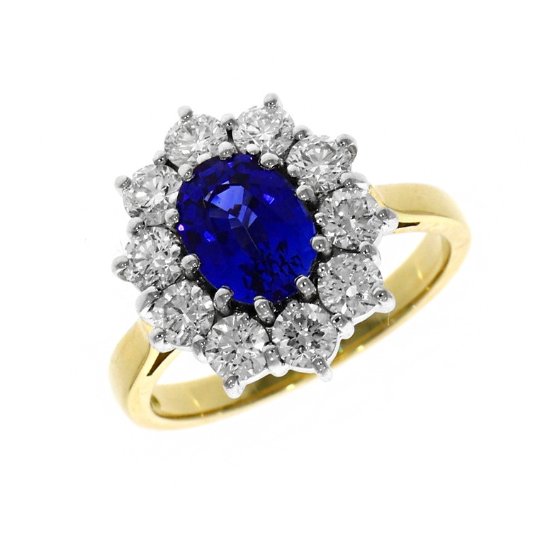 18ct Yellow Gold 1.83ct Sapphire And Diamond Ring