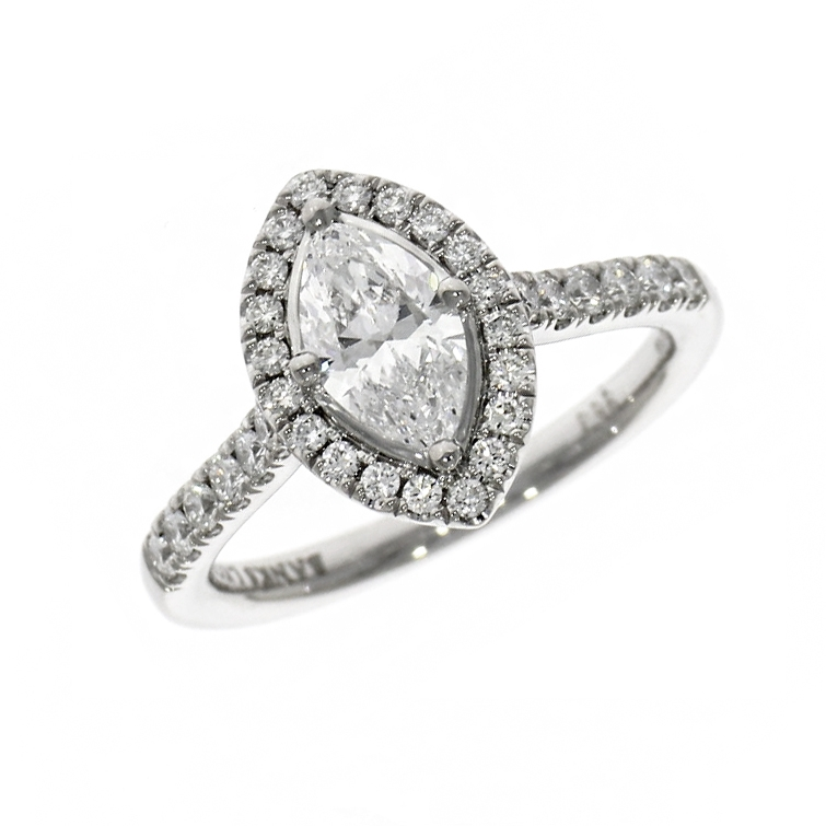 Platinum 0.71ct Marquise Cut Diamond Halo Ring