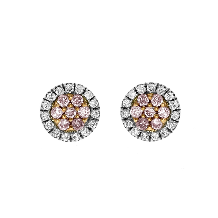"""18ct White And Rose Gold Natural Pink Diamond """"Touch of Pink"""" Cluster Earrings"""