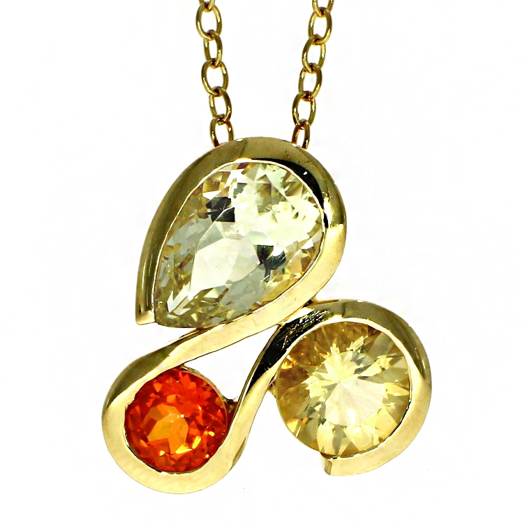 Pre Owned: 18ct Yellow Gold Citrine And Topaz Pendant